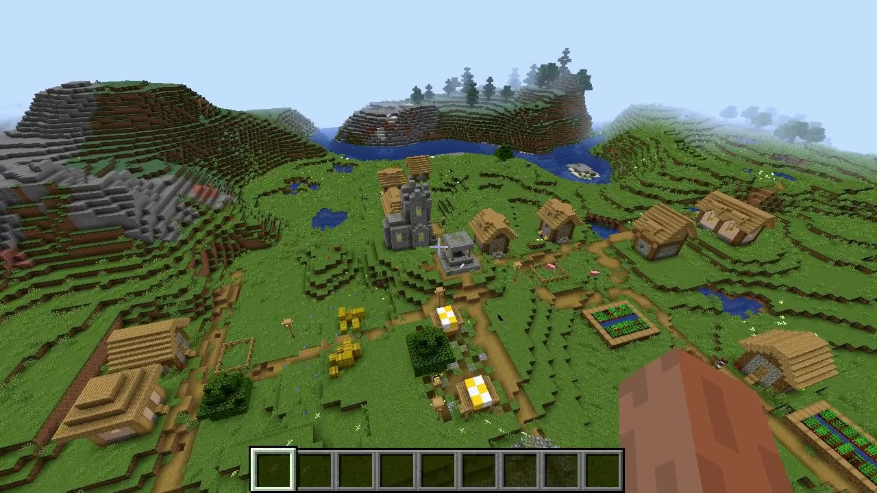 Minecraft 9.94 Seed 923: Double village at spawn! (and mineshaft)