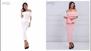 Одежда с Aliexpress - Шикарное облегающее платье с открытыми плечами