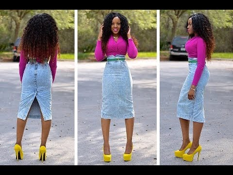 DIY how to turn jean pants into a pencil skirt - YouTube
