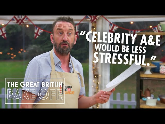 Lee Mack wings it, moonwalks and gets the Hollywood Stare! | The Great Stand Up To Cancer Bake Off