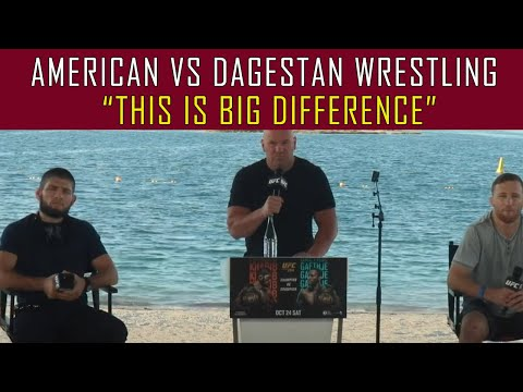 Khabib Acknowledges Good Question on Traditional American Wrestling vs Dagestan Style [