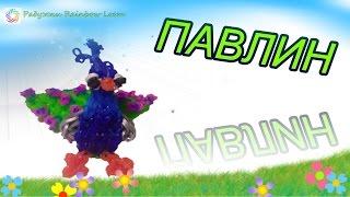 ПАВЛИН из резинок Rainbow Loom, Peacoock loom, Радужки Rainbow Loom