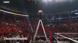 Jeff Hardy - Swanton Bomb through the Announce Table - Summerslam 2009 - HD