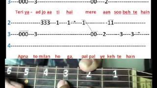 chaha hai tujhko chahunga har dam(Mann) on guitar tabs Part 1