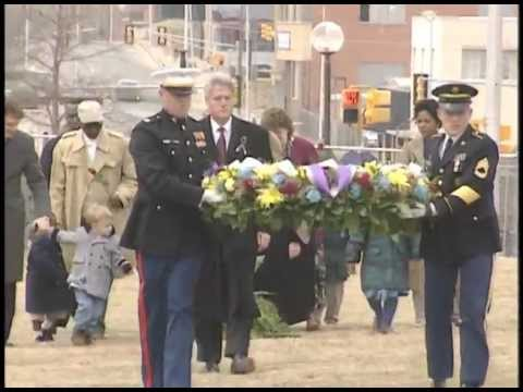 Pres. Clinton Laying a Wreath at the Alfred P. Murrah Building Site (1996)