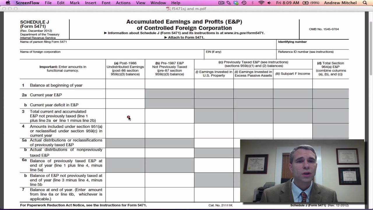 Irs form 5471 schedule j youtube falaconquin