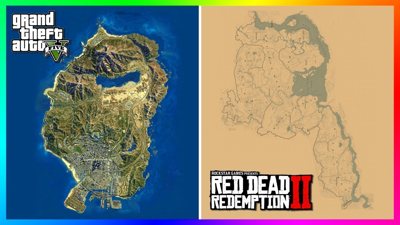 How BIG Is The Red Dead Redemption 2 Map Compared To The Grand Theft Auto 5  Map? (RDR2 VS GTA 5)
