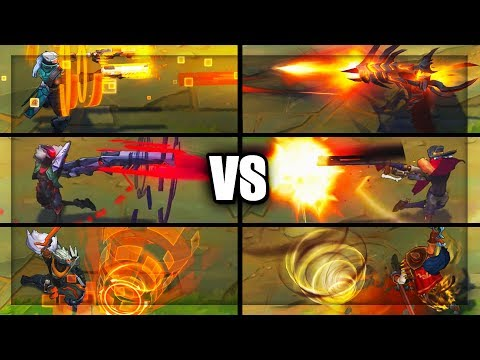 PROJECT Vs HIGH NOON - All Skins Comparison Jhin Yasuo Lucian (League Of Legends)