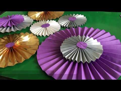DIY Paper Fans | DIY Paper Rosette| Paper Rosettes Backdrop
