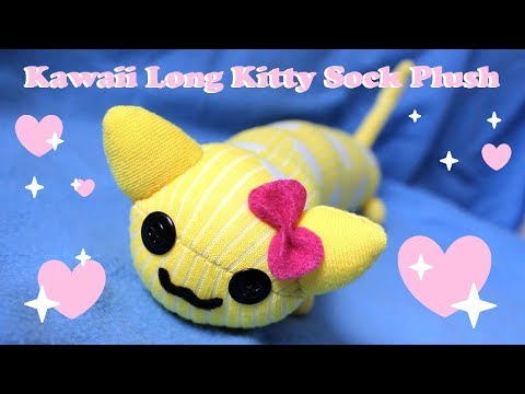51095749f ❤ DIY Kawaii Long Cat Sock Plush! How To Make A Cute Kitty Plushie ...
