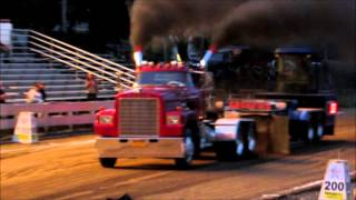 Street Licensed Semi Trucks pulling at The Clearfield Expo in Clearfield Pa 9-6-14