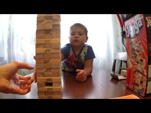 Играем в игру Дженга  строим башню Jenga unboxing and play