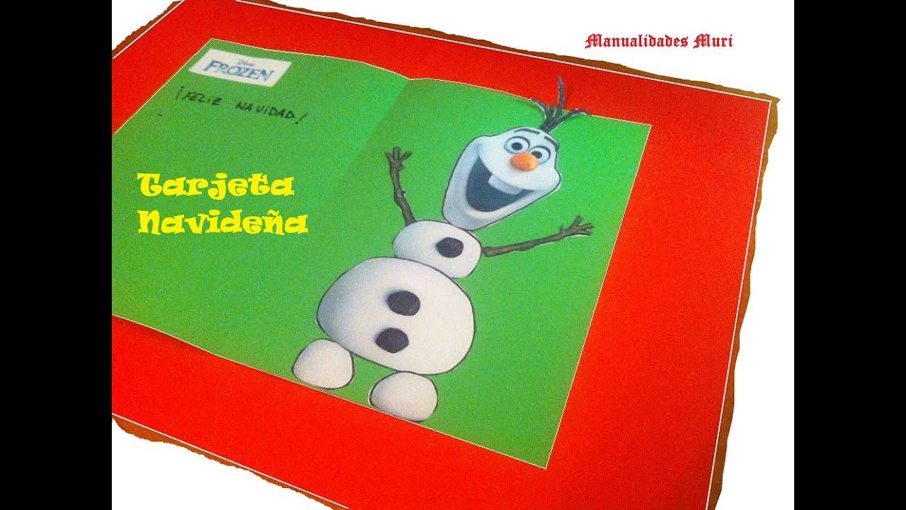 Manualidades para ni os tarjeta navide a frozen youtube - Manualidades navidenas faciles para ninos ...