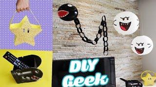 5 DIY GEEK idéias para DECORAÇÃO de sala do Super MARIO BROS - Luminária, porta controle e +