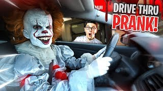 """IT"" CREEPY CLOWN DRIVE THRU PRANK!!"