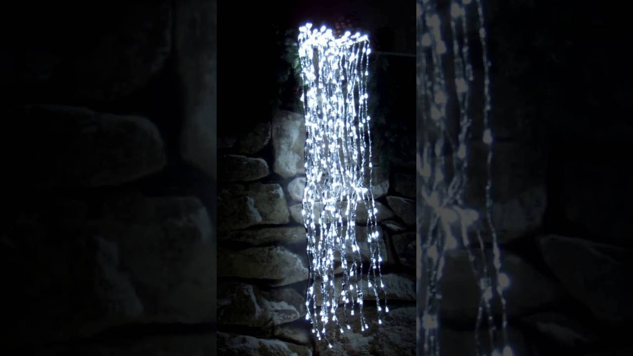 lumineo led wasserfall cascade silber 1 2 m 440 kaltwei e led flashing effekt youtube. Black Bedroom Furniture Sets. Home Design Ideas