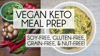 Vegan keto meal prep! today's meals are soy-free, nut-free, gluten-free, and grain-free! breakfast is a savory nut-free noatmeal with spinach kale. lunch...