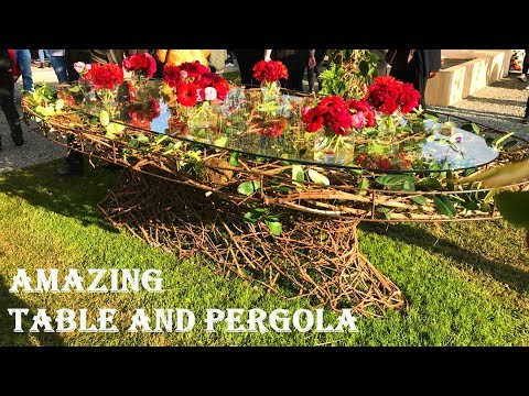Amazing Wood and Glass Table with Flower and Pergola Crerativ Design Ideas 2019