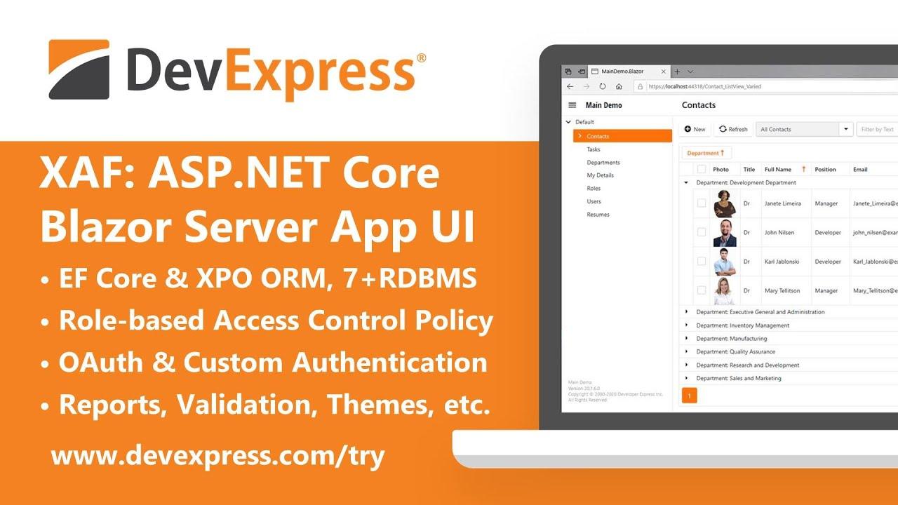 Blazor Web Apps with ASP.NET Core, C# and DevExpress XAF (Cross-Platform .NET App UI)