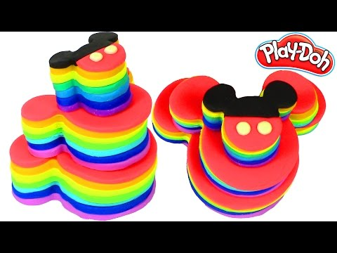 Mickey mouse Play Doh Colors Rainbow Cake Toys  and Frozen Cake  Plastilina y Juguetes Castle Toys