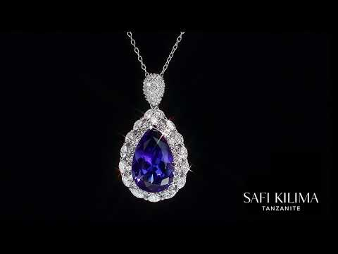 Safi Kilima Tanzanite Pear And Diamond Pendant