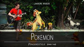 POKEMON - Jason Paige fingerstyle (free tab) instrumental with lyrics