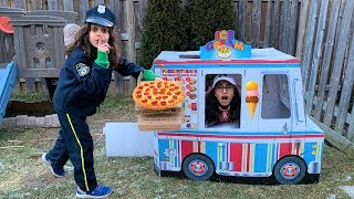 Police Pizza Delivery to Ice cream Truck!! pretend play