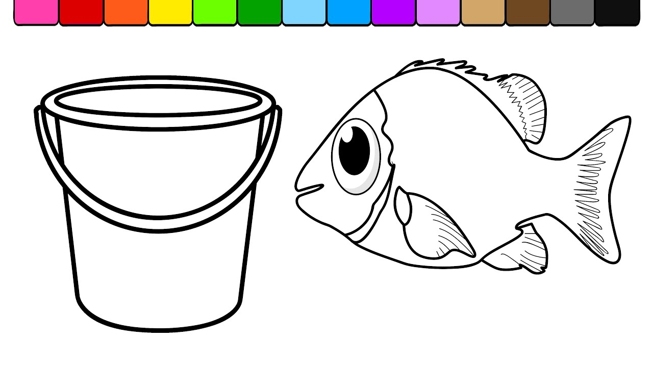 Learn Colors For Kids And Color Fish Beach Bucket Coloring Page