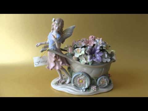 Hand Made Porcelain Fairy with Flowers Musical Figurine