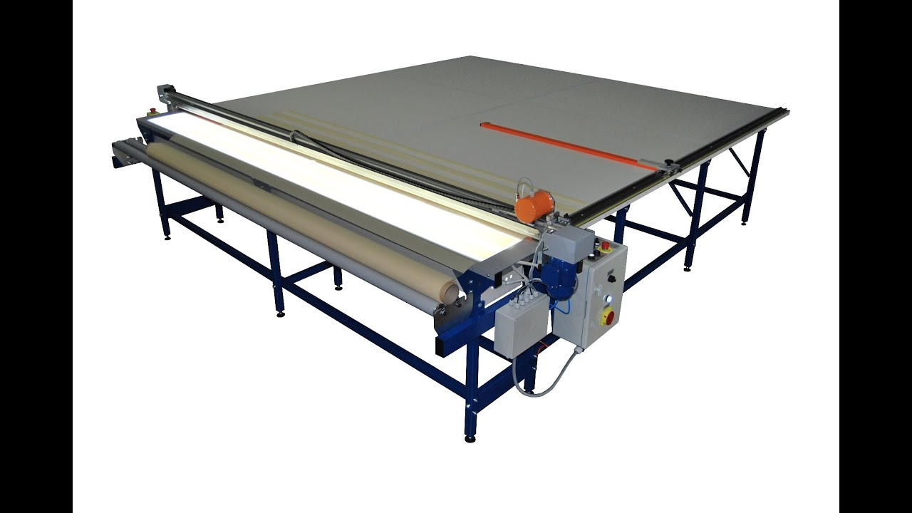 Cutting table for roller blinds REXEL UK-2 - YouTube