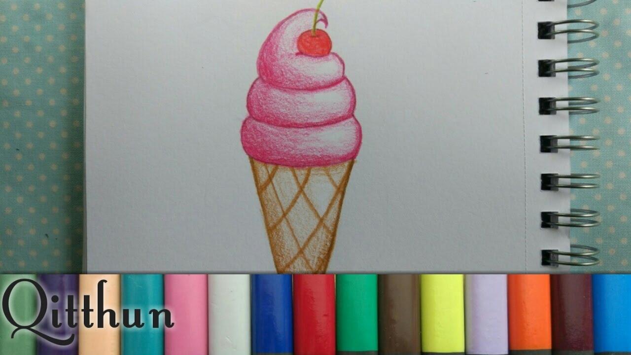 Cara menggambar es krim#2!! speed drawing   Qitthun - YouTube