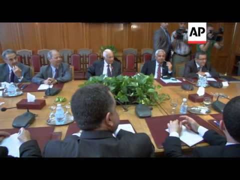 Arab league chief Nabil al Araby meeting with Syrian opposition
