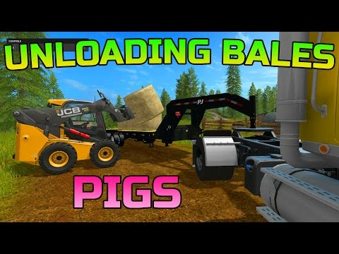 FARMING SIMULATOR 2017 | UNLOADING BALES | BEDDING DOWN PIGS | JCB