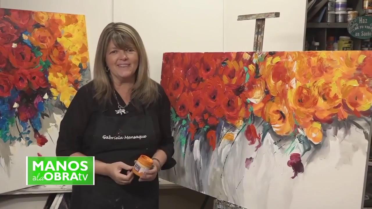 Pintar Con Acrílico Y Espátula Cuadro De Flores Gabriela Mensaque Youtube