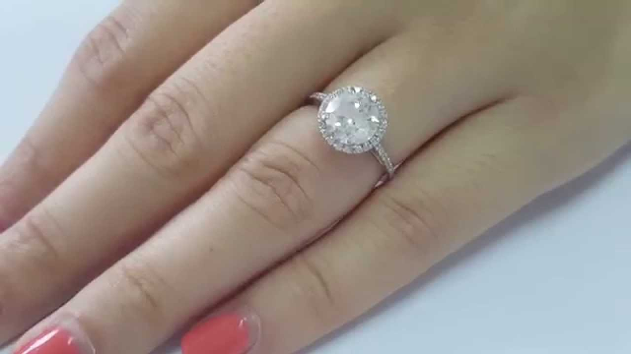 222 Total Carat Di1 Round Natural Diamond Halo Engagement Ring 18k Ring 2 Ct