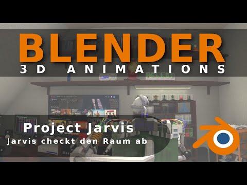 Blender Render Animation : Jarvis checkt den Raum ab !!