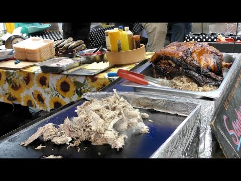 Food from Island of Cuba. Yummy Pork Sandwiches Tried in Notting Hill. London Street Food.