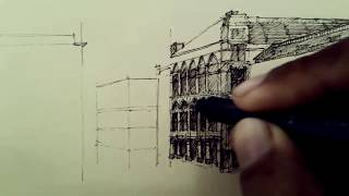 PART #6 - HOW TO DRAW BUILDING - SKETCH BUILDING - VIENNA (AUSTRIA) - DRAWING PEN 0,1 AND 0,3