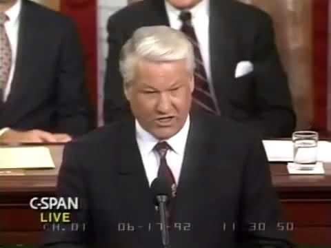 Борис Ельцин в Конгрессе США 17.06.1992. Yeltsin.  United States Congress