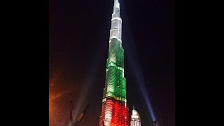 HAPPY NATIONAL DAY....!!! Burj Khalifa lights up with national flags of the UAE