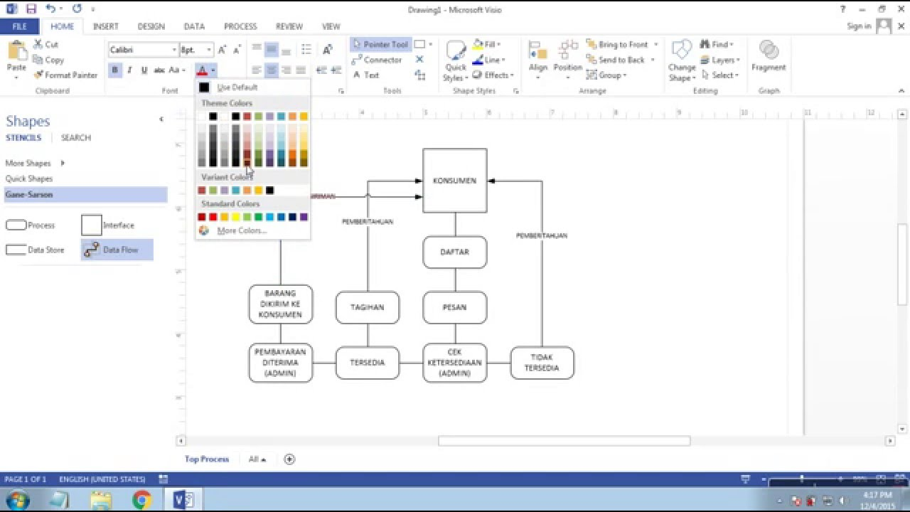 Cara membuat diagram dfd (data flow diagram) di Microsoft