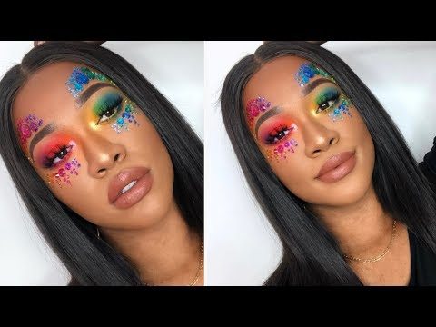 RAINBOW MAKEUP TUTORIAL! CARNIVAL/FESTIVAL LOOK! REVOLUTION X TAMMI TROPICAL CARNIVAL PALETTE
