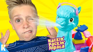 HE SPITS! Hackin Packin Alpaca is a CRAZY Family Game! KIDCITY