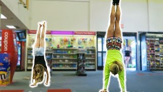 REBECCA CHALLENGES KID TO HANDSTAND CONTEST AT CVS! (DAY 148) GYMNASTICS CHALLENGE