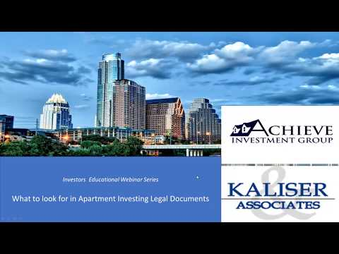 What to look for in Apartment Investing Legal Documents  Video