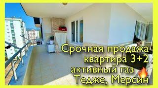 🔥Срочная продажа квартиры 3+2 , активный газ, вид на горы, центр Тедже, Мерсин