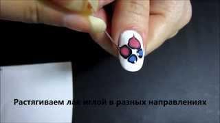 Простой рисунок на ногтях иглой Бабочка 2