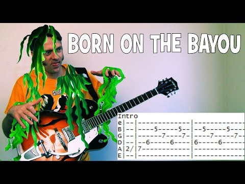 how to play Born On the Bayou by Creedence Clearwater Revival guitar lesson chords & tab
