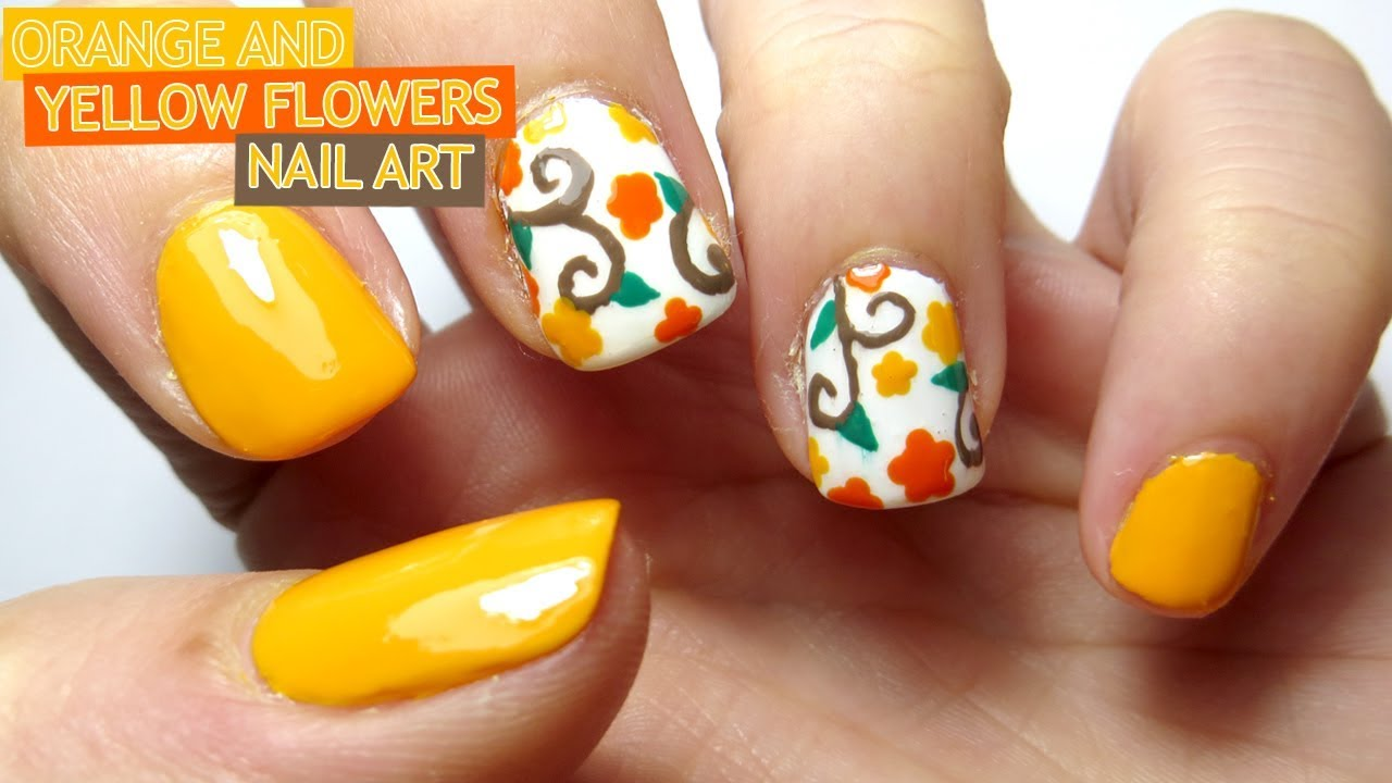 Orange and yellow nail art autumnfall nail art youtube orange and yellow nail art autumnfall nail art prinsesfo Image collections