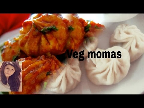 Veg.momos recipe - वेजिटेबल मोम्स - Steamed Momas vegetable Dim Sum - How to make Chinese veg momas